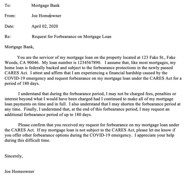 forbearance letter